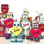 a group of robots holding love signs to illustrate humanising a brand