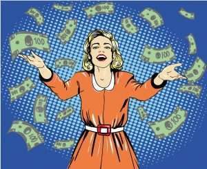 Retro pop art illustration of a happy woman throwing money to illustrate winning a contest